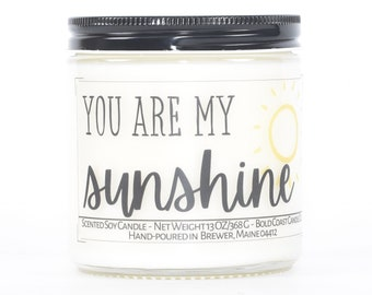 You Are My Sunshine Custom Soy Candle, Valentine's Day Gift for Her, Gift for Women, Personalized Anniversary Gift Girlfriend, Couples Gift