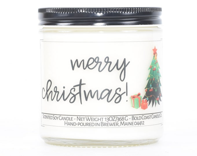 Merry Christmas Candle, Christmas Decoration, Personalized Holiday Decor, Stocking Stuffer, Christmas Candle, Candle Gift Idea, Teacher Gift