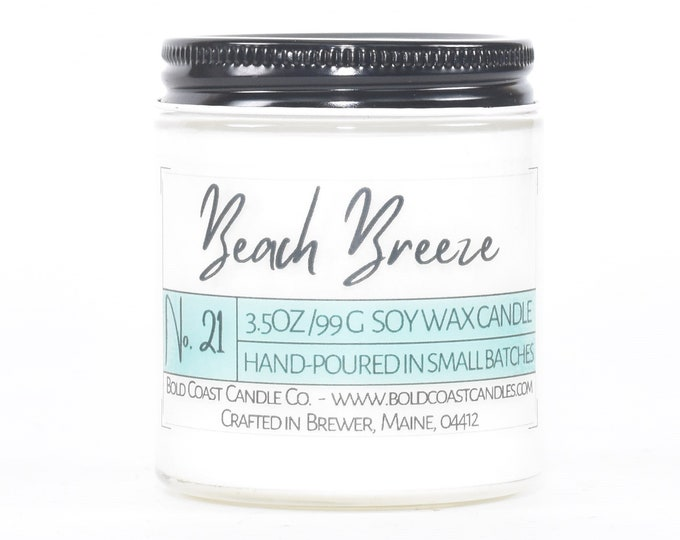 Beach Breeze Scented Soy Candle, Birthday Gift for Her, Mother's Day Gift, Scented Candle Gift, Jar Candle, Housewarming Gift