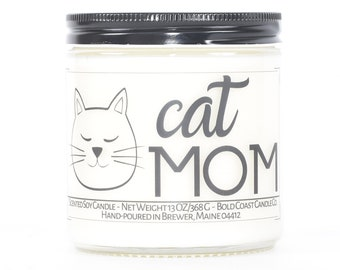 Cat Mom Gift Soy Candle, Cat Lover Gift for Her, Personalized Gift for Mom, Wife Birthday Gift, Gift for Girlfriend, Pet Mom, Custom Candle