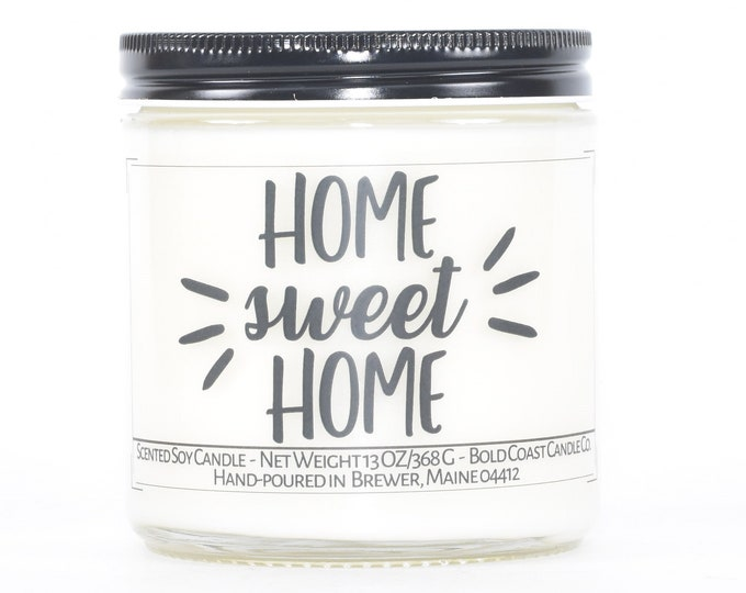 Home Sweet Home Custom Soy Candle, First Home Gift, House Warming Gift, Personalized Housewarming Gift, New House Gift, Congratulations Gift