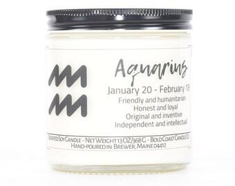 Aquarius Zodiac Custom Soy Candle, Zodiac Gifts, Aquarius Horoscope, Astrology Gift, Personalized Birthday Gift, Best Friend Gift, Mom Gift