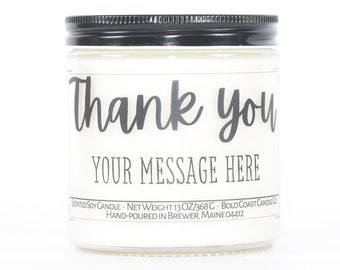 Thank You Gift for Friend, Appreciation Gift, Customized Soy Candle, Personalized Gifts for Friend, Teacher Thank You Gifts, Employee Gift