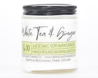 White Tea & Ginger Scented Soy Candle, Eco Friendly Candle, Christmas Gift For Her, Holiday Gift, Housewarming Gift, Stocking Stuffer
