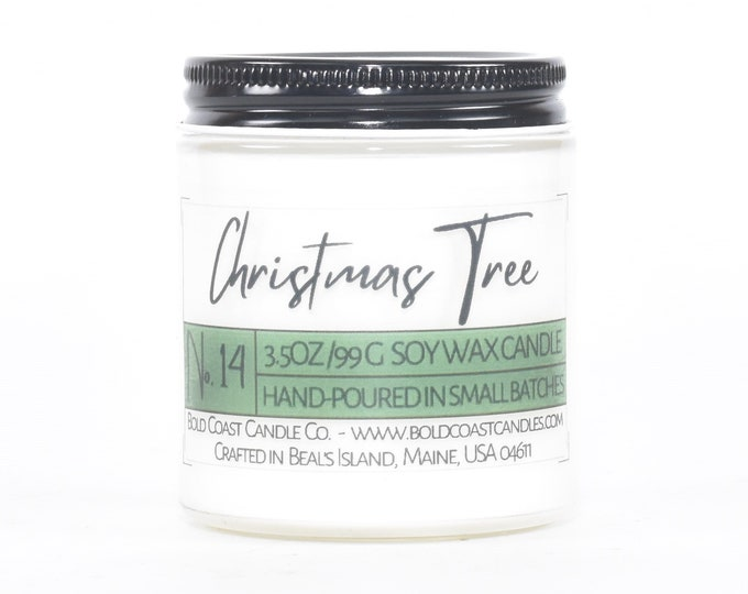Christmas Tree Scented Soy Candle, Eco Friendly Candle, Christmas Candle, Holiday Decor, Holiday Gift, House Warming Gift, Stocking Stuffer