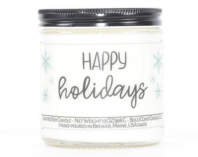Happy Holidays Candle, Christmas Decoration, Personalized Holiday Decor, Stocking Stuffer, Christmas Candle, Candle Gift Idea, Teacher Gift