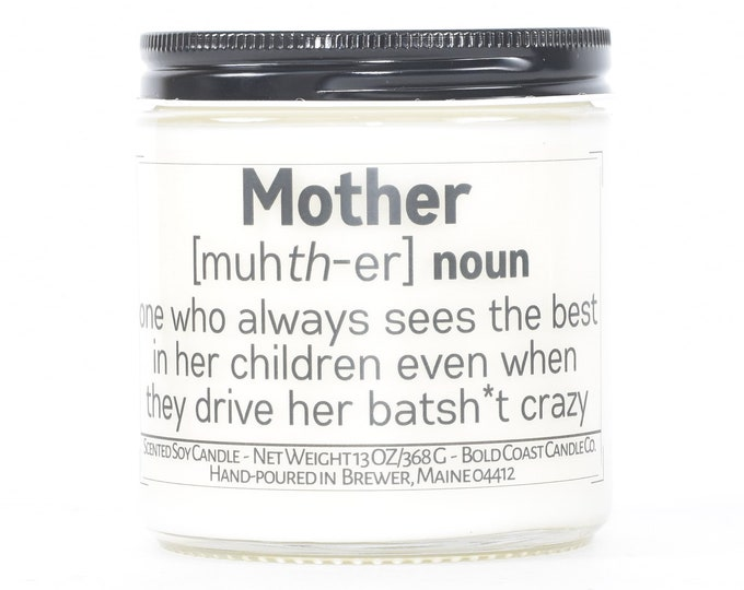 Mother Definition Candle, Mother's Day Gift, Funny Personalized Candle, Gift for Mom from Daughter, Gift for Grandma, Custom Gift from Son