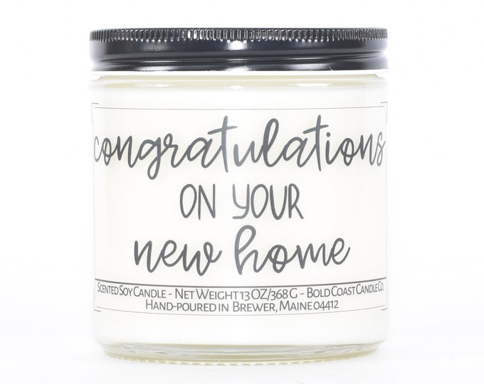 Congratulations on your New Home Gift, Custom Soy Candle, Personalized Housewarming Gift, First Home Congrats Closing Gift from Realtor