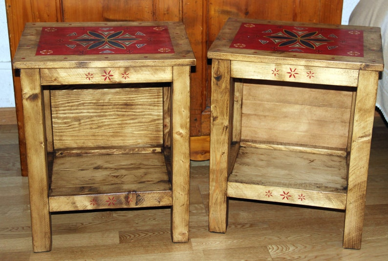 De Rustique Italien Table Chevet Artisanat 5R34AjL