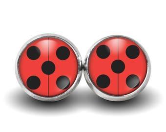 Miraculous Ladybug Earrings, Yoyo, Adventures of Ladybug and Cat Noir, Stud Earrings, Glass Earrings