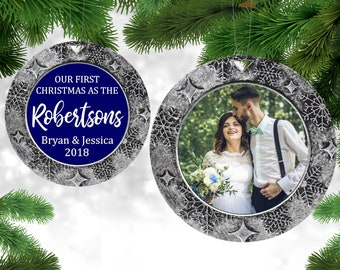 First Christmas Married Ornament Custom Photo Ornament Gifts Under 10 Wedding Gifts