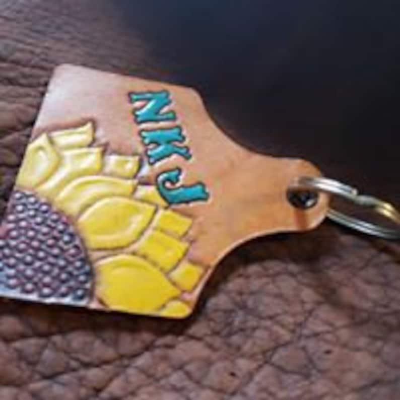 Custom Sunflower Leather Ear Tag Key Chain