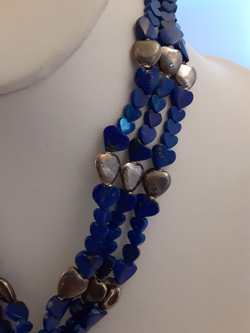 Stunning Custom 3-Strand Lapis Lazuli /& Sterling Silver Hearts Bead Necklace w Sterling Silver Clasp