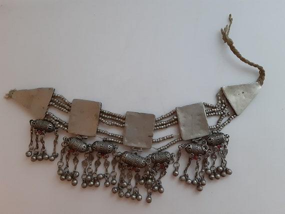 Handmade white metal right from Afghanistan with agate stone