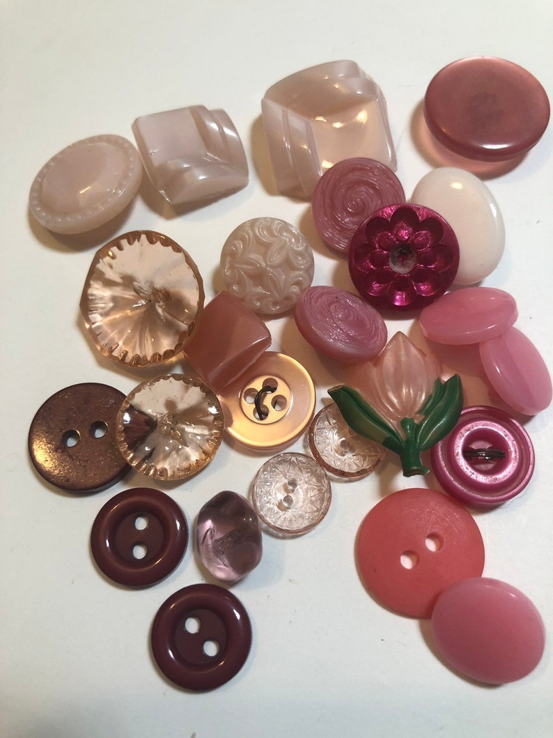 Vintage Sewing Vintage Lot of 25 Pink Czech Glass and Plastic Button Lot