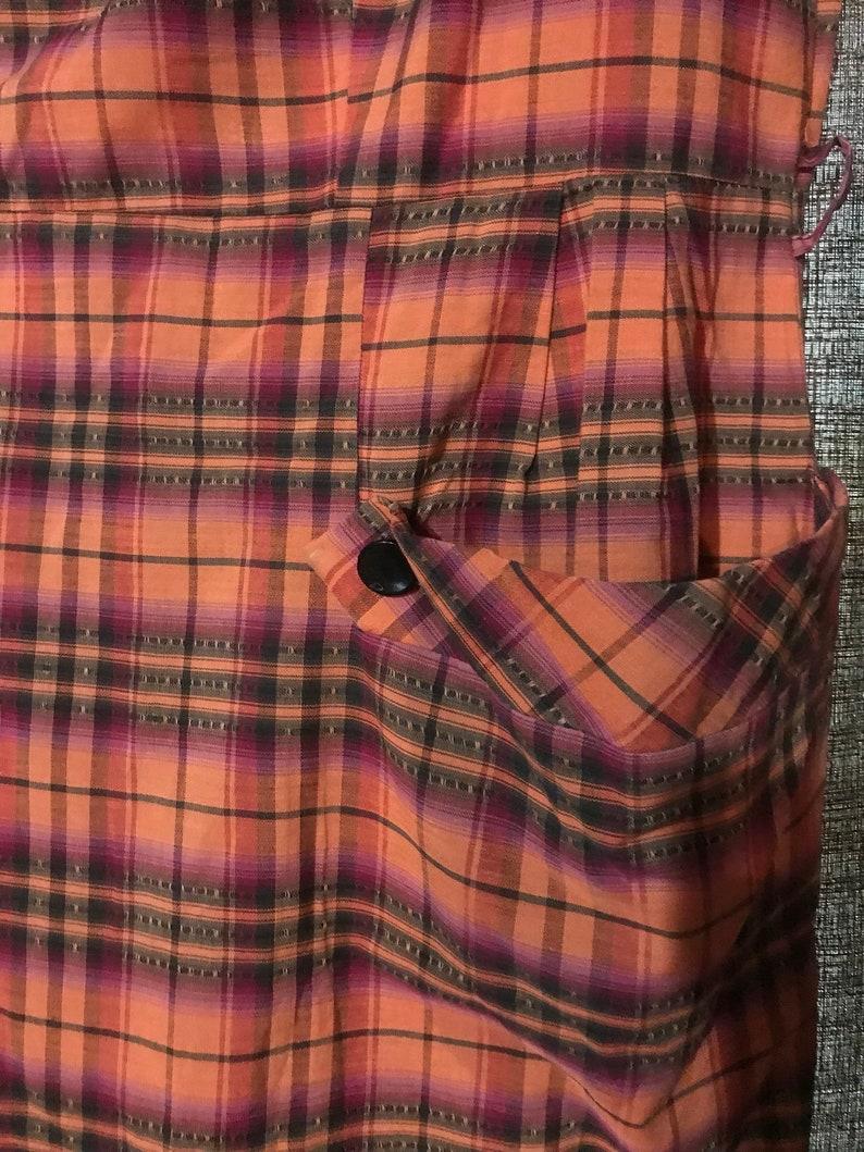 Plus Size Halloween Plaid 50/'s Orange Purple and Black Cotton Day Dress Bust 40 waist 34