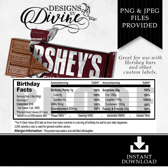 hershey birthday nutrition facts label custom label