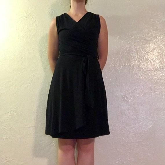 little black dress - wrap mini dress with tie wais