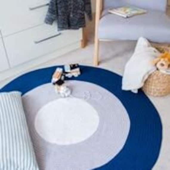Navy Blue Round Rug perfect for a boys bedroom or nursery