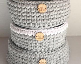 Storage Basket - Crocheted Basket - Nursery Decor, Baby Shower present