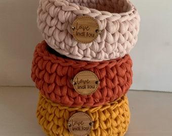 Earthy colours - Trinket Basket - 9cm x 4cm - Jewellery storage - Home Decor - Custom Colours