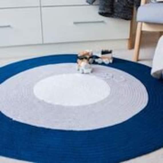 Boys Rugs - Round Nursery Rug perfect for baby boys bedroom or nursery -  Navy Blue, Grey + White