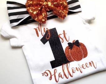 My 1st Halloween, halloween outfit, Newborn halloween, first halloween outfit, headband, October baby, baby shower gift, pumpkin patch