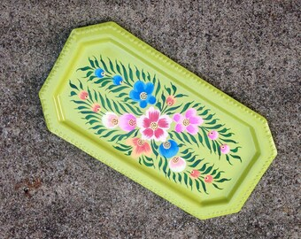 Garden Ring Tray - Hand Painted Flower Jewelry Dish - Metal Floral Vanity Tray