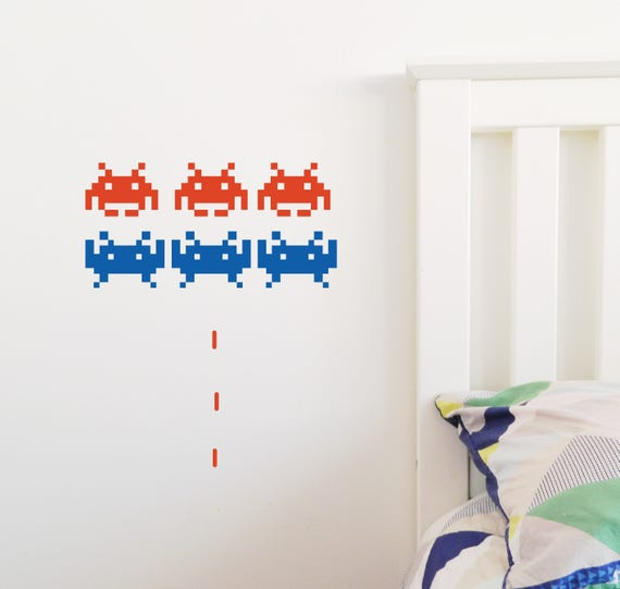 space invader wall sticker removable decal made in australia | etsy