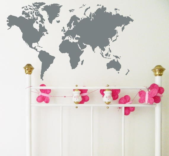 World map wall sticker removable decal made in australia gumiabroncs Image collections