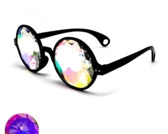 6748fb1fc9f3 Black Kaleidoscope Glasses - EDM Rave Trippy Dance Music Festival