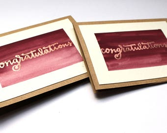 Card | Watercolor | Hand Lettering | Congratulations | Set of 2 | Burgundy | Copper Embossed | Graduation | Baby Shower | Wedding