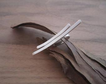 Ring Silver 925/1000 adjustable size, model Meridian