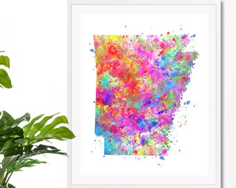 Arkansas Watercolor Map 3 Art Print, Poster, Wall Art, Contemporary Art, Modern Wall Decor, Office Decor