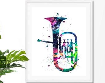 Tuba #1 Fine Art Print, Poster, Wall Art, Home Decor, Kids Wall Art, Play Room Wall Art, Archival print