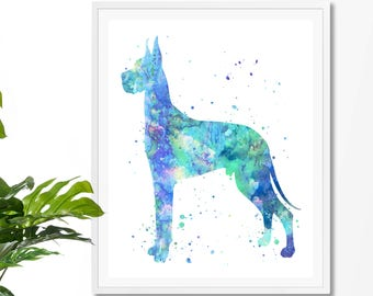Great Dane  Watercolor Fine Art Print,  Home Decor, Watercolor Painting,Great Dane Art,Animal Watercolor,Dog Watercolor, Great Dane Print