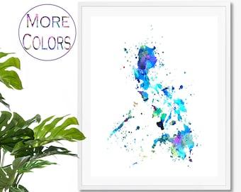 Philippines Watercolor Map #3 Art Print, Poster, Wall Art, Contemporary Art, Modern Wall Decor, Office Decor