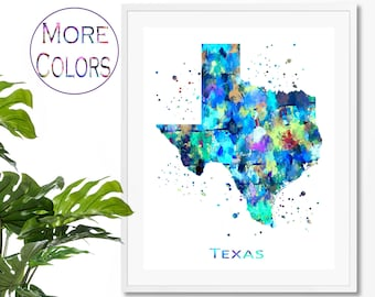82d018ee Texas watercolor map | Etsy