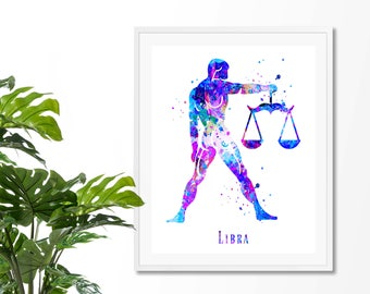 Libra #4 Watercolor  Astrology Art, Print, Libra  Sign , Libra Zodiac, Libra Wall Art,  Libra Poster, Gifts for  Libra