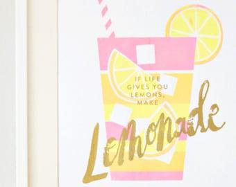 Lemonade screenprint gold/pink/yellow