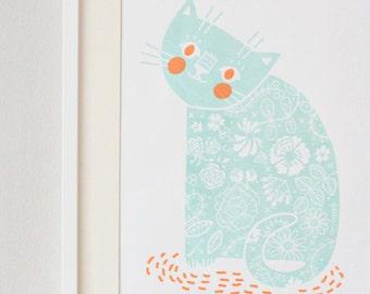 Happy Kitty screenprint mint/orange