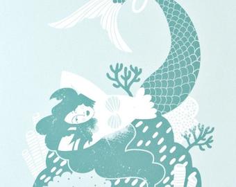 Mermaid Coral Reef // print mint