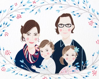 Custom Illustrated Family Portrait // winter wreath design