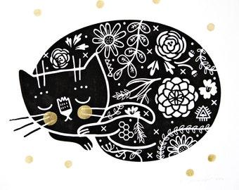 Sleepy Kitty screenprint black/gold