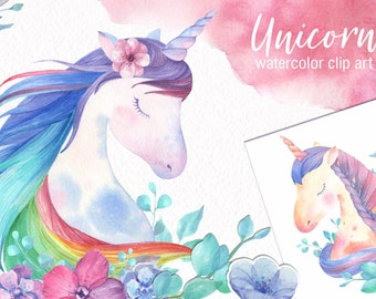 watercolor unicorn clipart instant download nursery clipart Unicorn watercolor clipart watercolour unicorn png commercial use digital