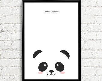 Panda Prints, panda art, boys room decor, gift for kids prints , girls room decor, Kids illustration, nursery decor, INSTANT DOWNLOAD