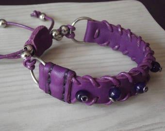 original and unique leather and gemstone bracelet
