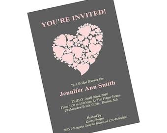 Printable Pink Heart Bridal Shower Invite