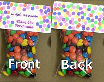 Polka Dot Birthday goody bags - bag toppers