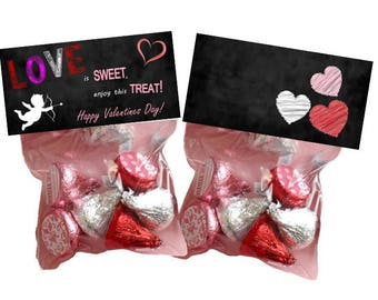 Love is sweet, Enjoy this treat! - goody bags - bag toppers - Valentines Day